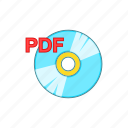 cartoon, disk, education, learning, literature, pdf, sign icon
