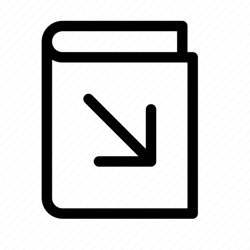 arrow, book, bottom, open, right icon