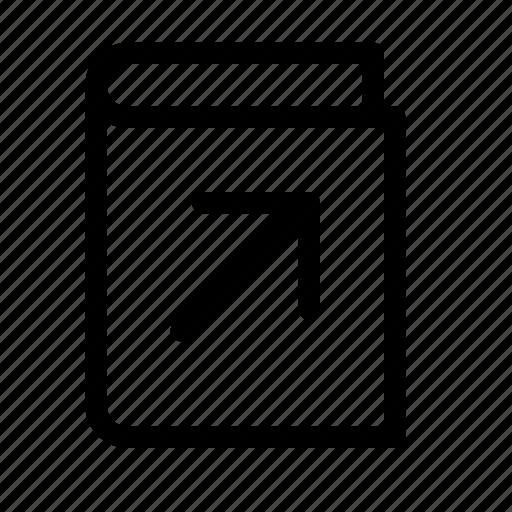 arrow, book, corner, cover, open, right, top icon
