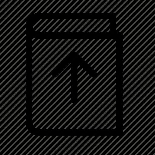 arrow, book, ebook, load, publish, up, upload icon