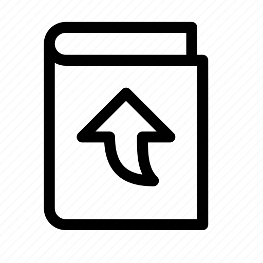 arrow, book, curved, ebook, publish, up, upload icon