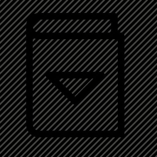 archive, book, down, download, ebook, triangle icon