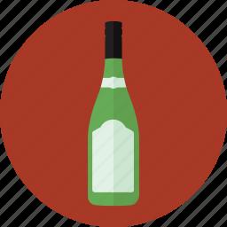alcohol, bottle, drink, green bottle, white wine, wine, wine bottle icon