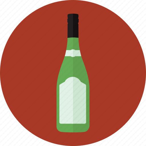 alcohol, bottle, drink, green bottle, white wine, wine, wine bottle icon