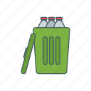 bottle, can, garbage, recycle, trash icon