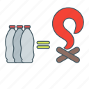 bottle, burn, fire, water icon
