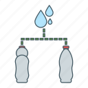 bottle, drink, fill, process, water icon