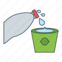 bottle, drink, fill, glass, water icon