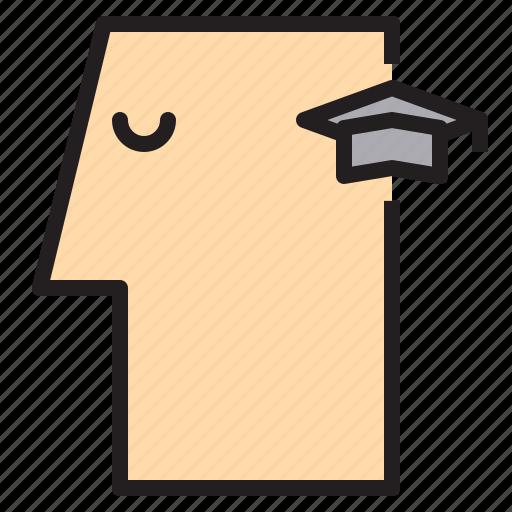 brain, graduate, human, idea, mind, think icon