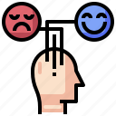 brain, creative, feelings, process, temper icon