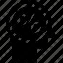 head, human head, mind, percentage, sign, thinking