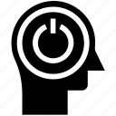 head, human head, mind, on off, switches, thinking icon