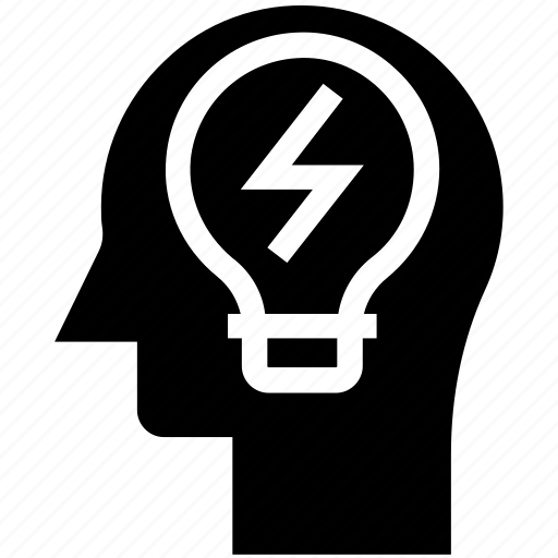 bulb, energy, head, human head, mind, thinking icon