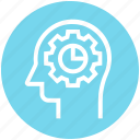 chart, cogwheel, head, human head, mind, thinking icon