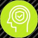 access, head, human head, mind, shield, thinking