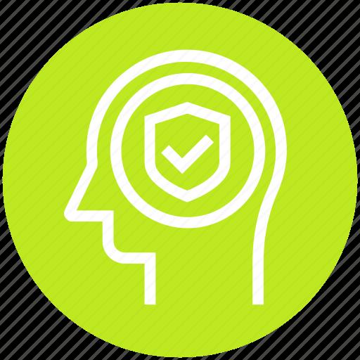 access, head, human head, mind, shield, thinking icon