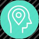 head, human head, location, map pin, mind, thinking