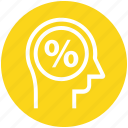 head, human head, mind, percentage, sign, thinking icon