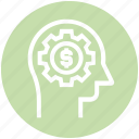 dollar, gear, head, human head, mind, thinking icon