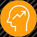 graph, head, human head, mind, thinking, up arrow icon