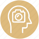 camera, head, human head, mind, picture, thinking icon