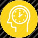 clock, head, human head, mind, thinking, watch