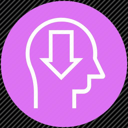 arrow, down, head, human head, mind, thinking icon