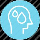 head, human head, mind, thinking, water, water drops icon