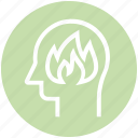 fire, flame, head, human head, mind, thinking