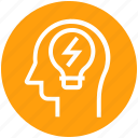 bulb, energy, head, human head, mind, thinking icon