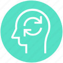 head, human head, loading, mind, sync, thinking icon