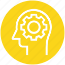 cogwheel, head, human head, mind, setting, thinking icon