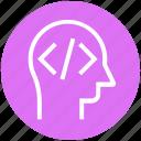 code, head, html, human head, mind, thinking