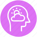 cloud, head, human head, mind, thinking, weather icon