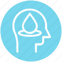 drop, head, human head, mind, thinking, water icon