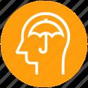 head, human head, insurance, mind, thinking, umbrella