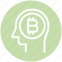 bitcoin, head, human head, mind, money, thinking icon
