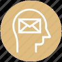 envelope, head, human head, letter, mind, thinking