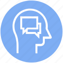 chatting, comments, head, human head, mind, thinking icon