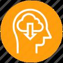 cloud, down arrow, head, human head, mind, thinking