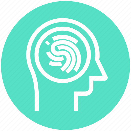 head, human head, mind, thinking, thumb scan, verification icon