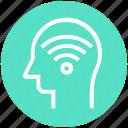 head, human head, mind, signals, thinking, wifi