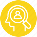 head, human head, magnifier, mind, thinking, user search icon