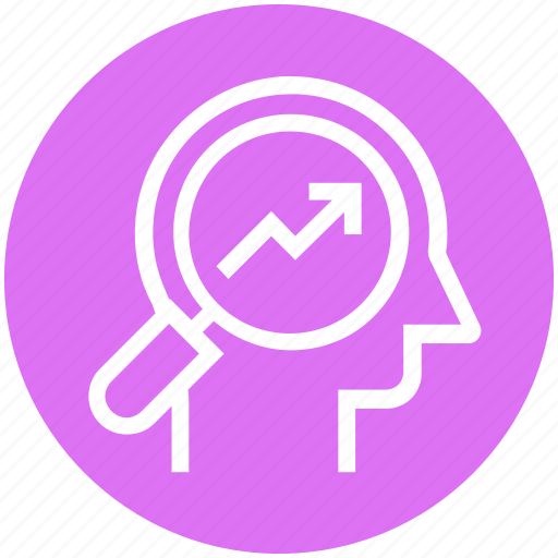 Graph, head, human head, magnifier, mind, thinking icon - Download on Iconfinder