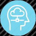 cloud, head, human head, mind, sharing, thinking