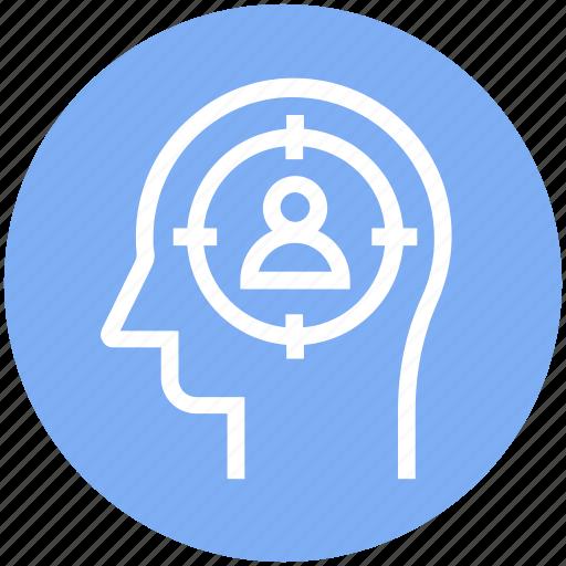 focus, head, human head, man target, mind, thinking icon