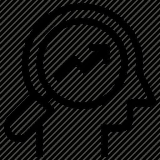graph, head, human head, magnifier, mind, thinking icon