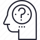 brain, head, mind, process, question, thinking icon