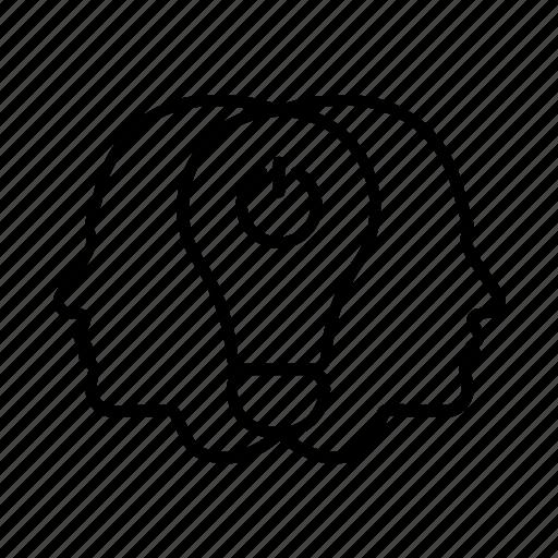 brainstorm, collective, creative, head, idea, team, thinking icon