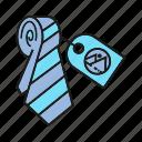 advertising, branding, branding identity, necktie, price tag, tag, wear icon